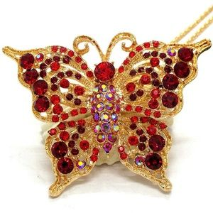 Pendant-Brooch 2-in-1 Red Rhinestone Butterfly